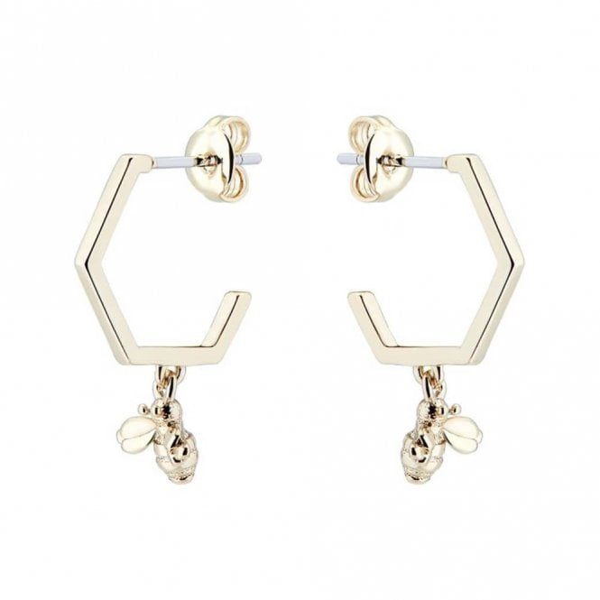 Ted Baker Bedza Pale Gold Bumble Bee Hoop Earrings