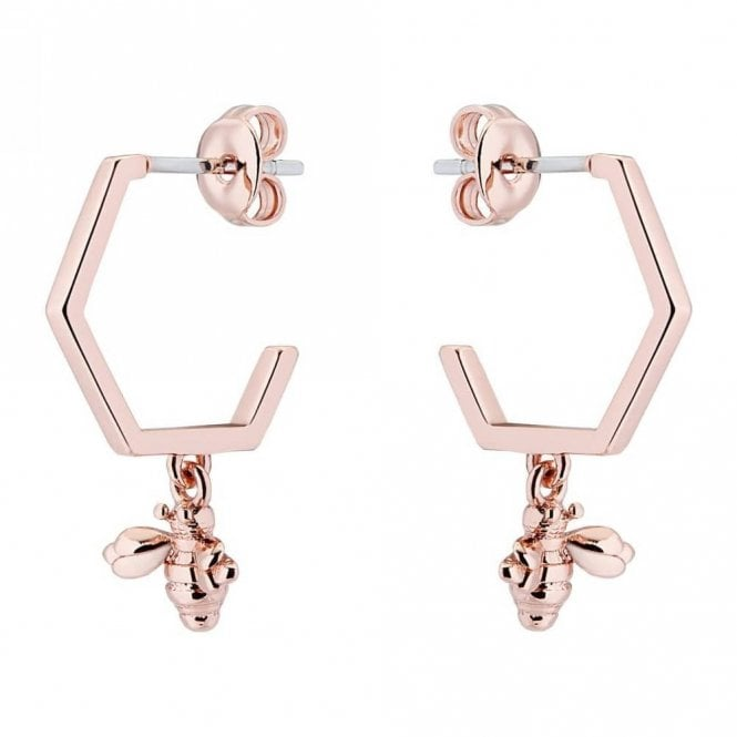 Ted Baker Bedza Rose Gold Bumble Bee Hoop Earrings