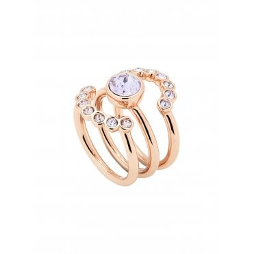 Cadyna Rose Gold Concentric Lilac Crystal Ring (Medium - Large)