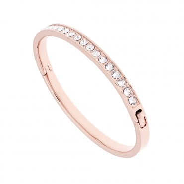 Clemara Hinged Rose Gold and Clear Crystal Bangle