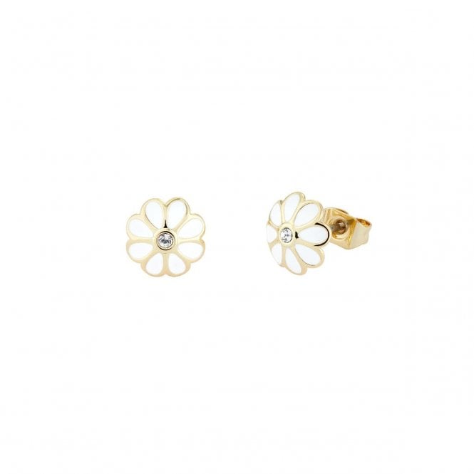 Ted Baker Daraeh Gold and White Daisy Stud Earrings