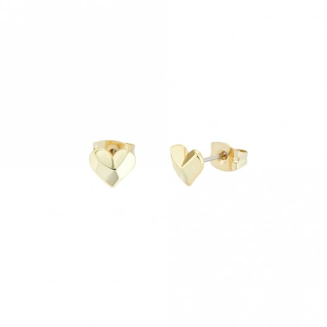 Ted Baker Felisi Yellow Gold Faceted Heart Stud Earrings