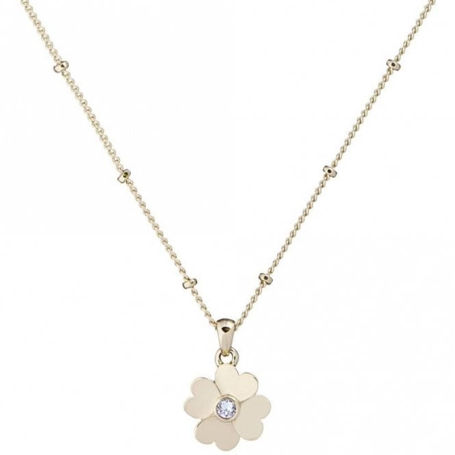 Ted Baker Hamlyi Yellow Gold Heart Flower Pendant Necklace