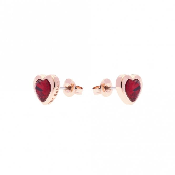 Ted Baker Hann Rose Gold and Red Crystal Heart Stud Earrings