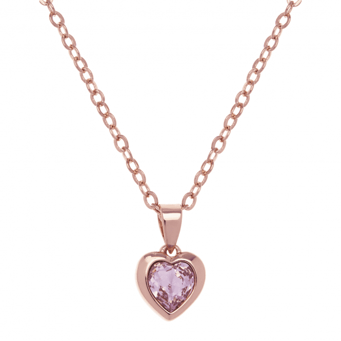 Ted Baker Hannela Rose Gold and Pink Crystal Heart Pendant Necklace