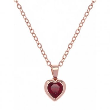 Hannela Rose Gold Red Crystal Heart Pendant Necklace