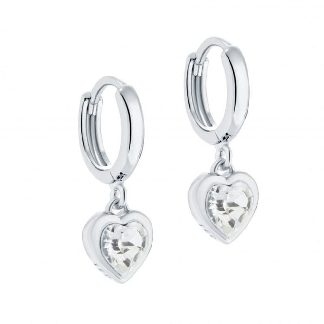 Ted Baker Hanniy Silver Tiny Crystal Heart Huggie Earrings