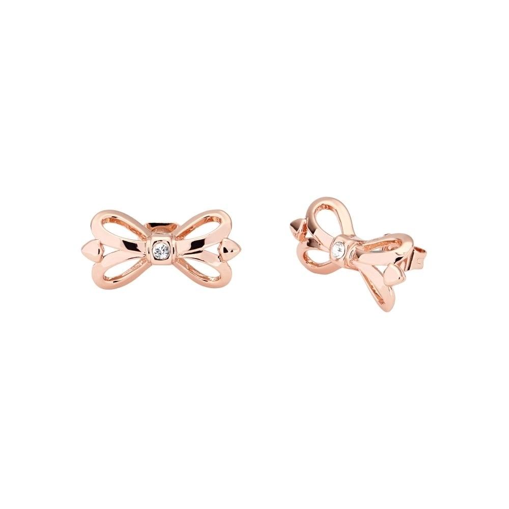 957c14557f50 TED BAKER Harmone Mini Ornate Bow Rose Gold Stud Earrings