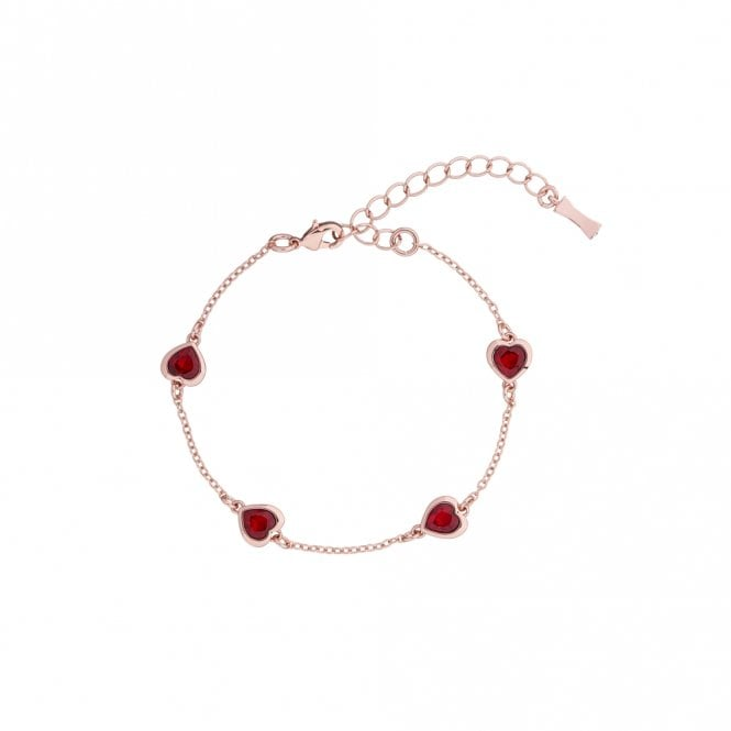 Ted Baker Heniee Rose Gold Red Crystal Heart Bracelet