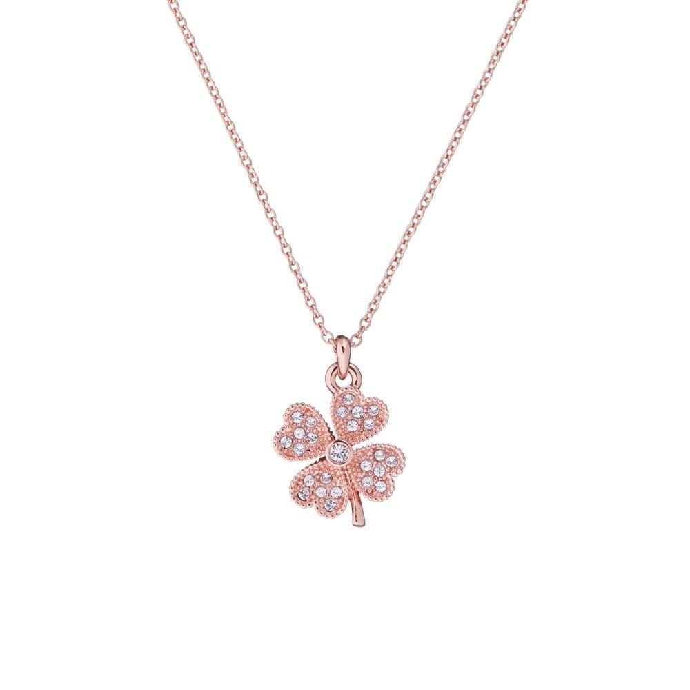 Ted Baker Heyam Rose Gold Hidden Heart Clover Pendant Necklace
