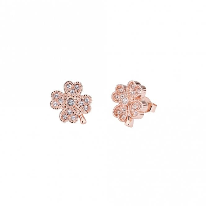Ted Baker Hiila Rose Gold Hidden Heart Clover Stud Earrings