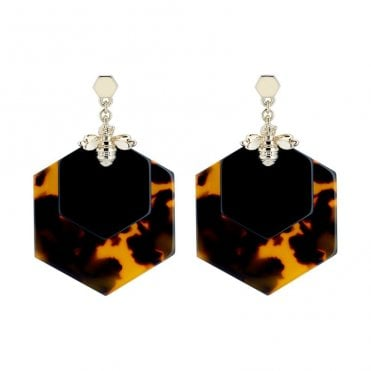 Honzza Yellow Gold Bumble Bee Honeycomb Earrings