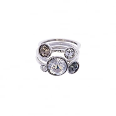 Jackie Silver Jewel Silver Shade Crystal Stack Ring, M/L