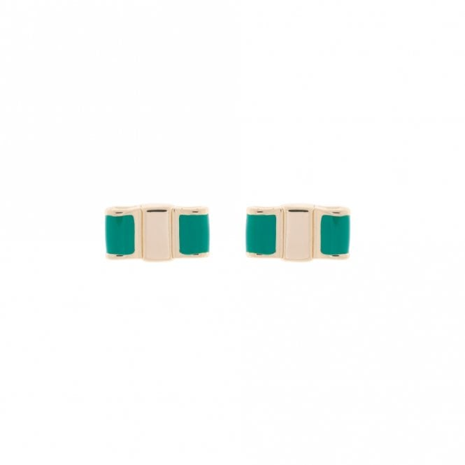 Ted Baker Kizia Yellow Gold and Green Enamel Flat Bow Earrings