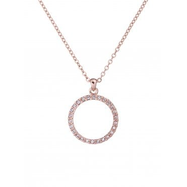 Linzzi Rose Gold and Crystal Luunar Pave Circle Pendant Necklace