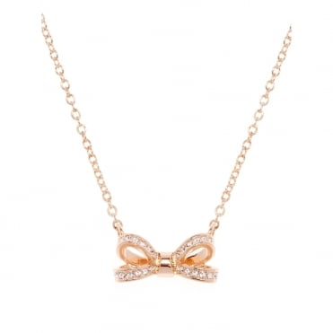 Olessi Rose Gold Crystal Mini Bow Pendant Necklace
