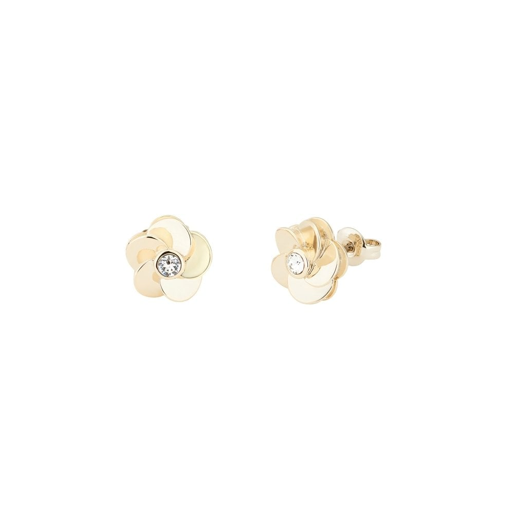 fe0ca8f72d34 TED BAKER Pelipa Polished Yellow Gold Flower Earrings