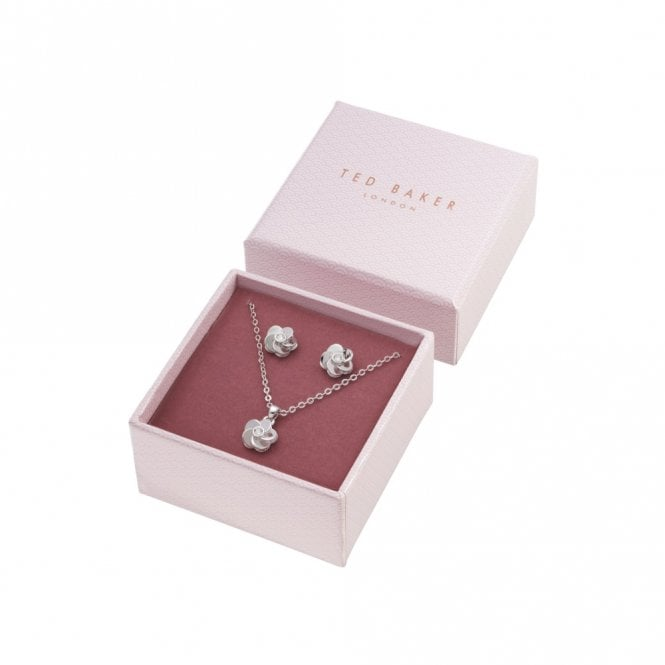Ted Baker Phoaria Silver Polished Flower Set