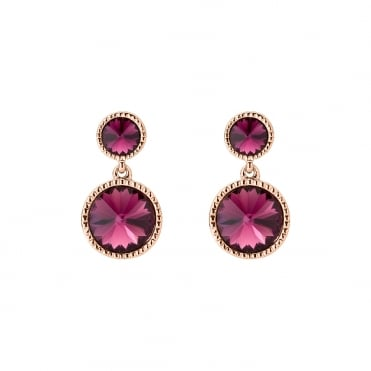 Ronda Rose Gold Rivoli Pink Crystal Drop Earrings