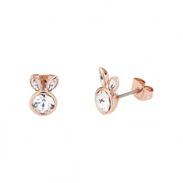 Rose Gold Crystal Alarta Adorables Rabbit Stud Earrings