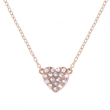 Rose Gold Crystal Pippa Pave Heart Pendant