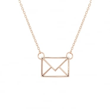 Rose Gold Irinna Love Letter Pendant Necklace