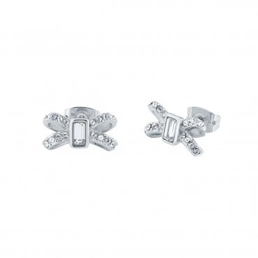 Sabla Silver and Crystal Sparkle Bow Stud Earrings