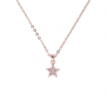 Saigi Rose Gold and CZ Shooting Star Pendant Necklace