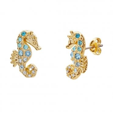Seapra Yellow Gold Seahorse Crystal Ombre Stud Earrings