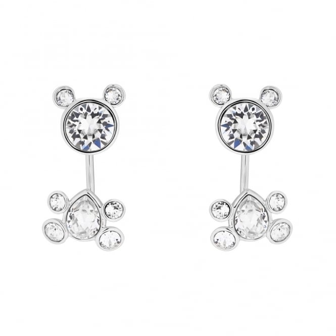 Ted Baker Silver Crystal Akasha Adorables Bear Drop Earrings