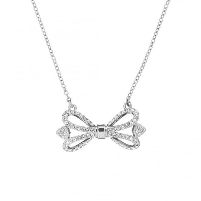 Ted Baker Silver Crystal Haven Ornate Pave Bow Necklace