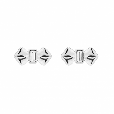 Susli Silver Solitaire Bow Stud Earrings