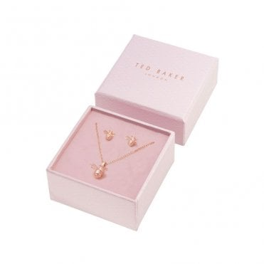 Yellow Gold Gold Beelii Bumble Bee Earrings and Bellema Bee Necklace Gift Set