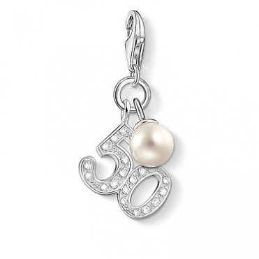 Charm Club 50 Pearl, Silver and CZ Charm