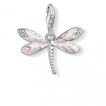 Charm Club Dragonfly Charm in Pink and Grey Enamel, Mother of Pearl and Silver