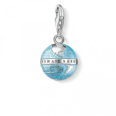 Charm Club Globe Silver and Blue Enamel Charm