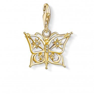 Charm Club Gold and CZ Sun and Moon Butterfly Charm