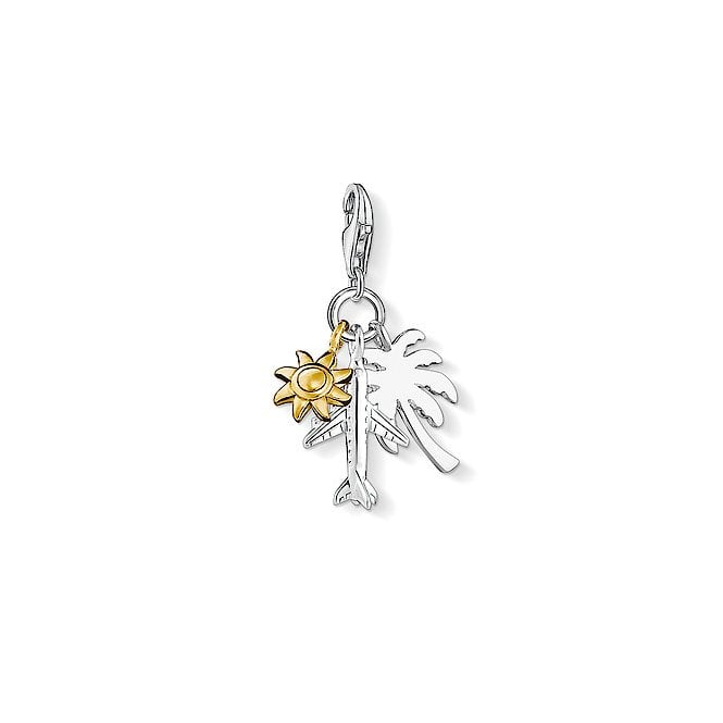Thomas Sabo Charm Club Palm Tree, Sun and an Aeroplane Rose Gold and Silver Charm