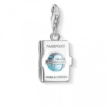 Charm Club Passport Silver and Blue Enamel Charm