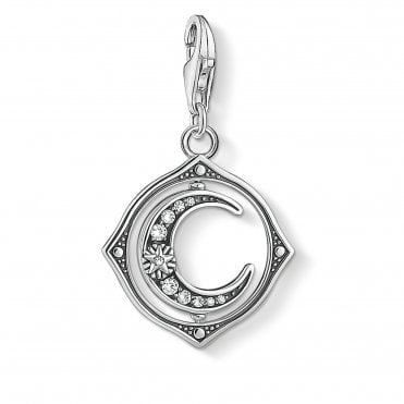 Charm Club Silver and CZ Moon Charm