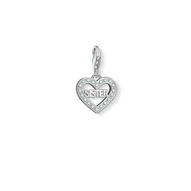 Thomas Sabo Charm Club Sister Open Heart Silver and CZ Charm