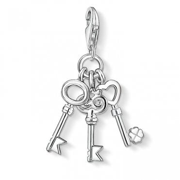 Charm Club Three Wishes Silver Key Charm