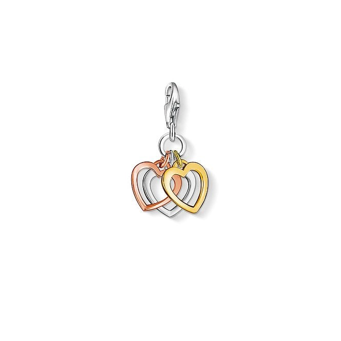 Thomas Sabo Charm Club Trio of Hearts Charm in Silver, Yellow Gold and Rose Gold