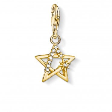 Charm Club Yellow Gold and CZ Star Charm