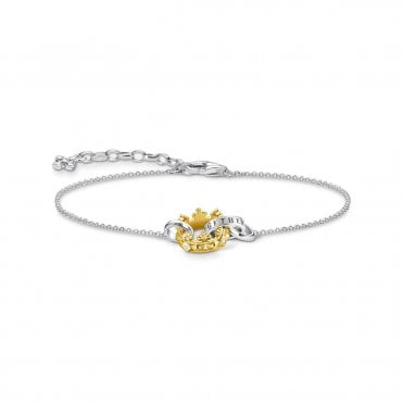Crown Bracelet in Oxidised Silver with Gold and CZ, Size: 19cm