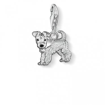 Dog Pendant Charms in Silver with Enamel