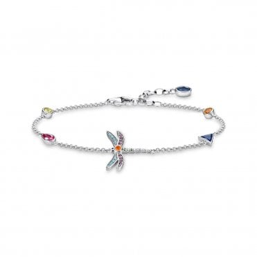 Dragonfly Bracelet in Oxidised Silver with Multicoloured Zirconia Stones, Size: 19cm