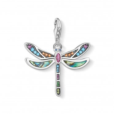 Dragonfly Pendant Charms in Oxidised Silver and Multicoloured Zirconia Stones