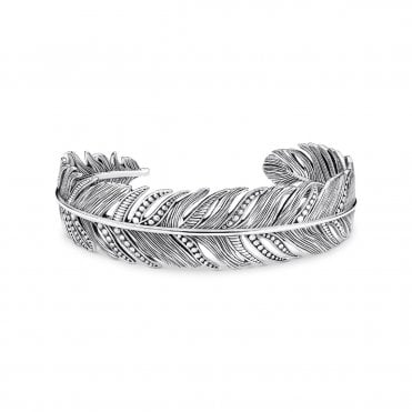 Filigree Feather Bangle in Oxidised Silver, Size: 17cm