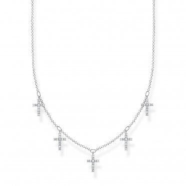 Glam and Soul Silver and CZ Five Crosses Necklace Length 45cm